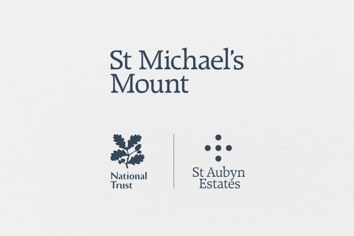 The St Michael's Mount logo above the National Trust and St Aubyn Estates logos.