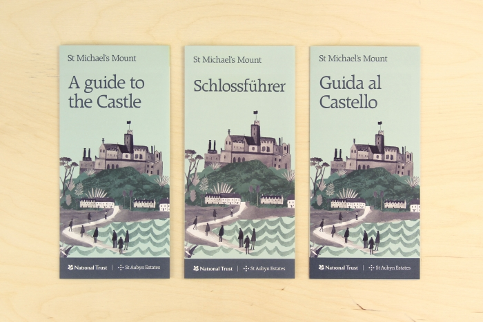 Three leaflets for St Michael's Mount in different languages.