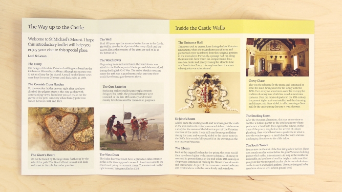 The inside of the fold-out St Michael's Mount leaflet.