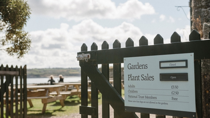 A sign on a gate on St Michael's Mount.