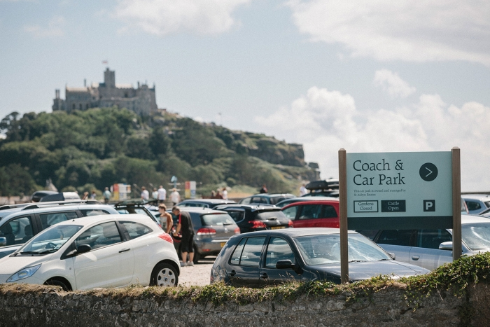 The car park at St Michael's Mount, with the mount visible in the background.