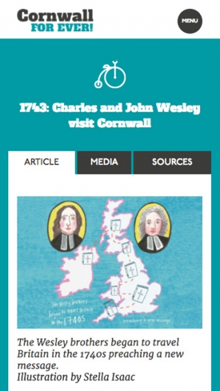An article for the Cornwall For Ever! website mocked up on mobile.