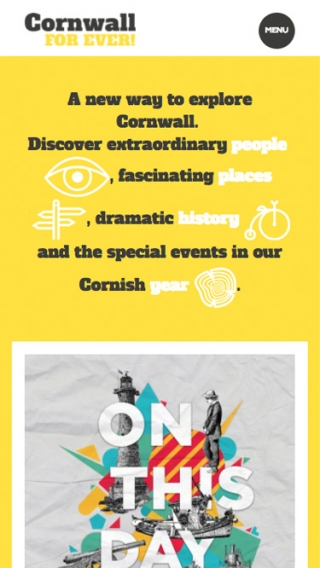 The Cornwall For Ever! website homepage mocked up on mobile.