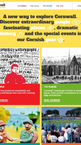 The Cornwall For Ever! website homepage mocked up on tablet.