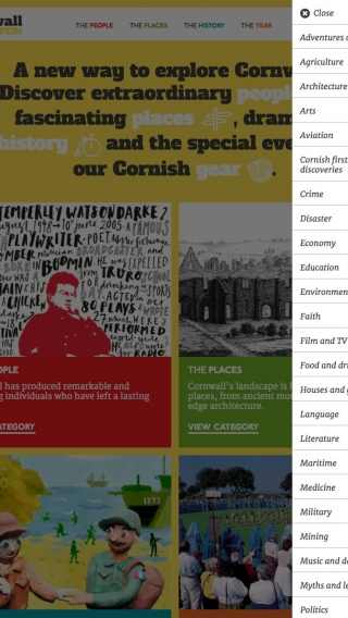The Cornwall For Ever! website navigation mocked up on tablet.