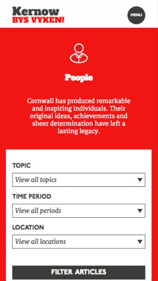 A listing page from the Cornwall For Ever! website mocked up on mobile.