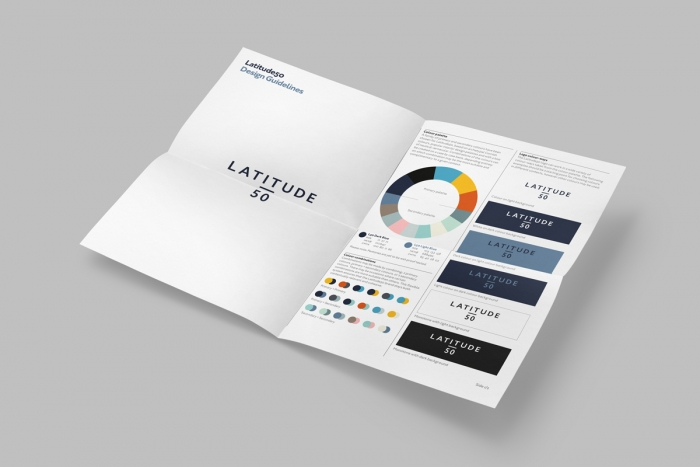 A printed page from the Latitude 50 brand design guidelines, showing the logo and colourways.