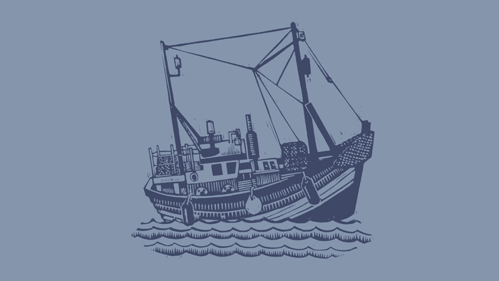 A linocut print of a Cornish fishing boat.