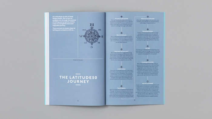 A double-page spread on the the letting journey in the owners' guide from Latitude50.