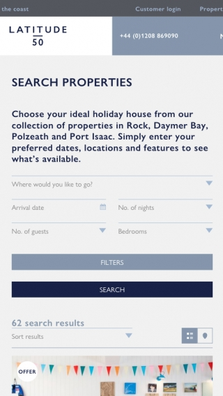 The property search feature on the Latitude50 website, mocked up on tablet.