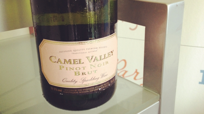 A bottle of Camel Valley Pinot Noir Brut.