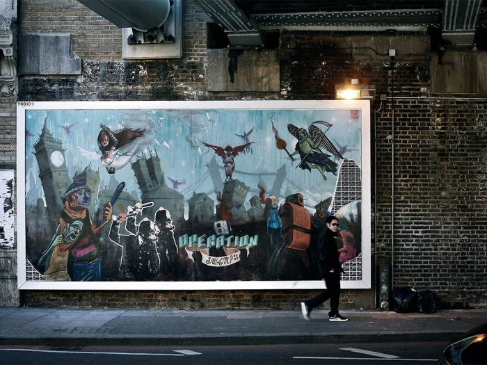 A mural in London promoting Nine Inch Nails' ARG and album, Year Zero