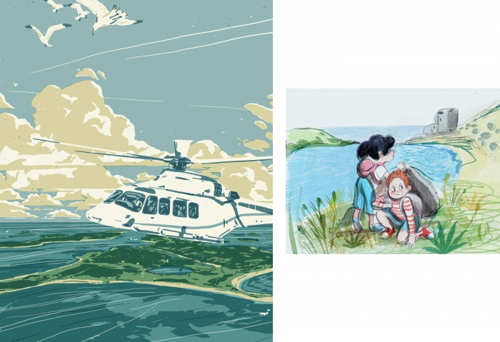 Two illustrations for Tresco Times, including helicopter and children.