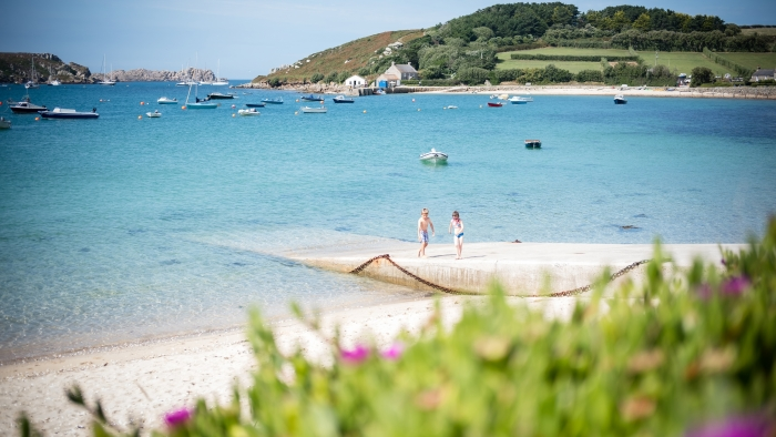 A view of the beach and other Isles of Scilly from Tresco Island.