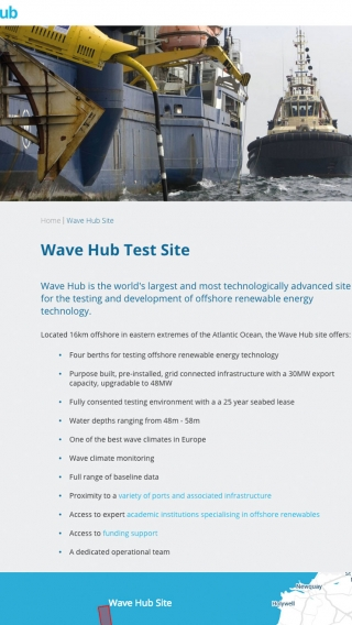 The Wave Hub website on iPad.