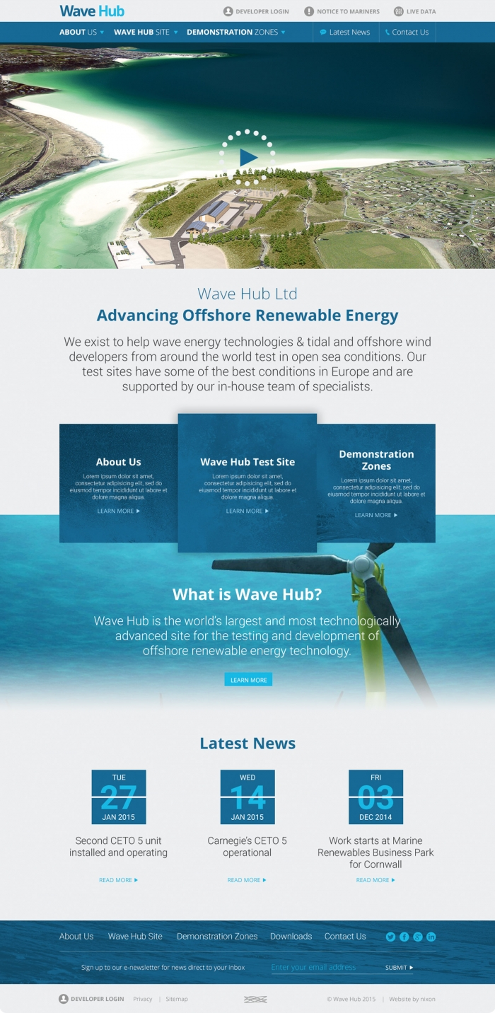 The homepage from the Wave Hub website mocked up on mobile.