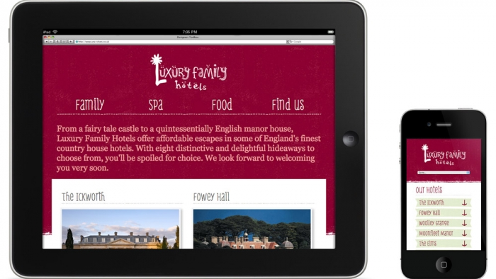The Luxury Family Hotels website mocked up on tablet and mobile phone.