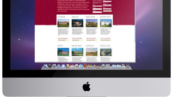 The Luxury Family Hotels website mocked up on an iMac.