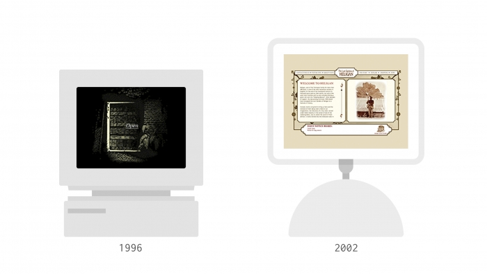 Two illustrations of computers, with the dates '1996' and '2002' underneath them from left to right.