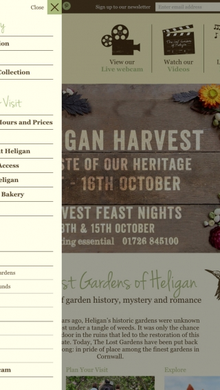 The Lost Gardens of Heligan website navigation, mocked up on iPad.
