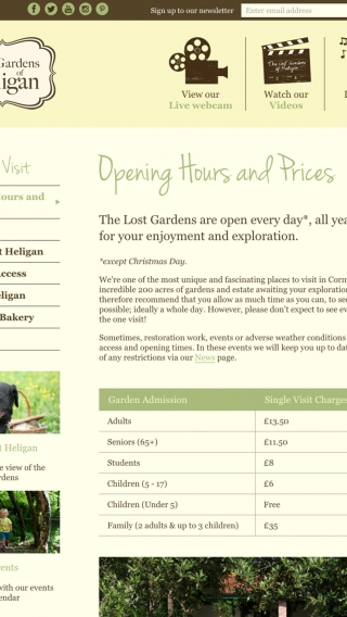 The Lost Gardens of Heligan opening hours and prices page on the website mocked up on tablet.
