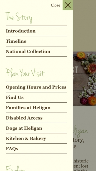 The Lost Gardens of Heligan website navigation mocked up on mobile.