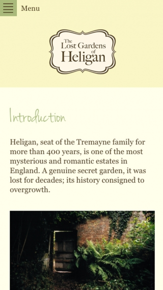 The Heligan website mocked up on mobile.
