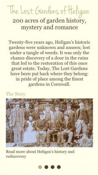 A page from the Heligan website mocked up on mobile.
