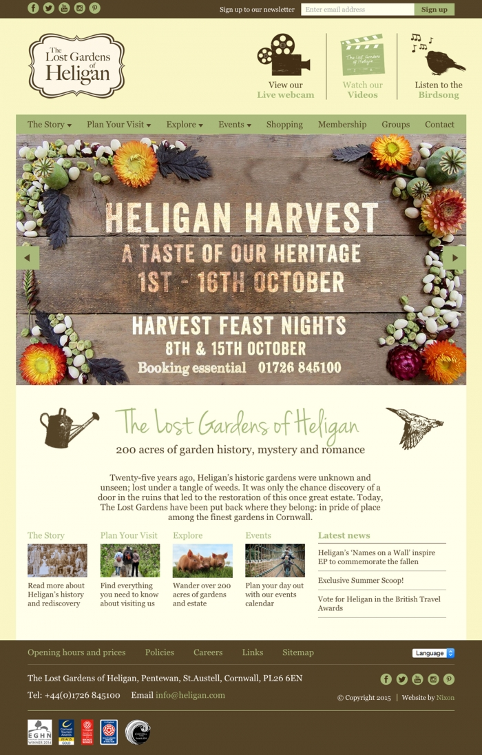 The Lost Gardens of Heligan website homepage.