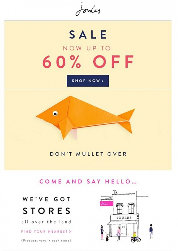 Example of a good call to action by Joules.