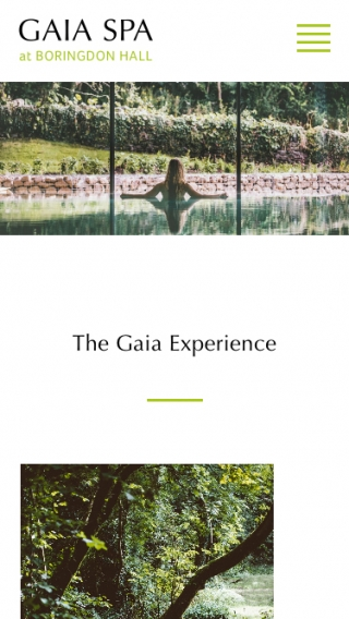 The Gaia Spa homepage mocked up on mobile.