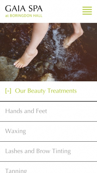 The Gaia Spa treatments website page mocked up on mobile.