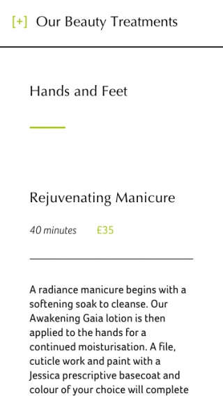 A treatment page from the Gaia Spa website mocked up on mobile.