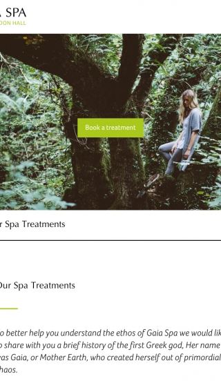 The Gaia Spa website treatment page mocked up on tablet.