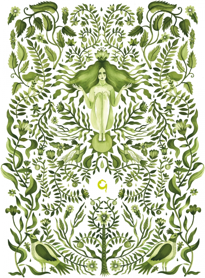 An illustration for Gaia Spa, showing the goddess Gaia surrounded by plants and birds.