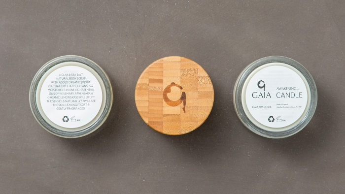 Gaia Spa products from the top down.