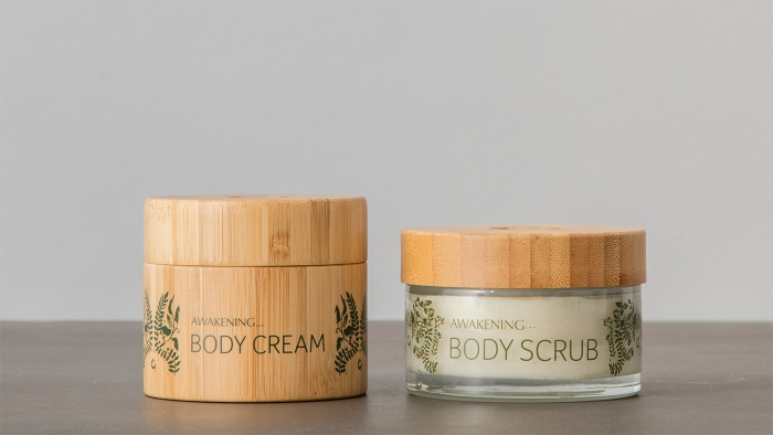 Gaia Spa body cream and body scrub.