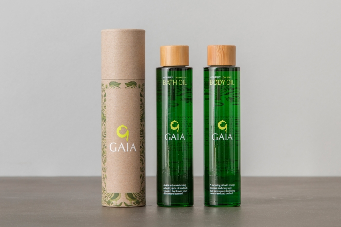 Bottles of Gaia Spa oils.
