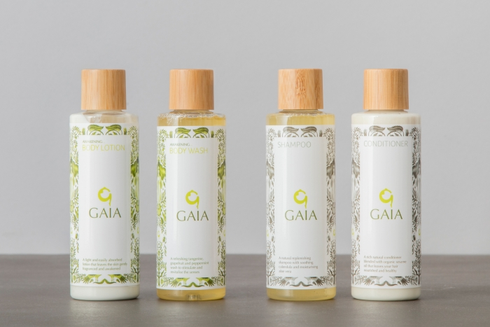 Bottles of Gaia body lotion and wash, and shampoo and conditioner.