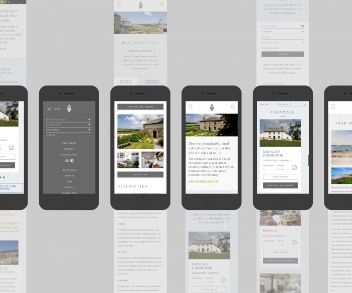 The Duchy of Cornwall Holiday Cottages website mocked up on six mobile phones.