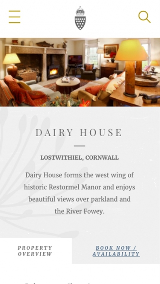 A Duchy of Cornwall Holiday Cottages website property page mocked up on mobile.