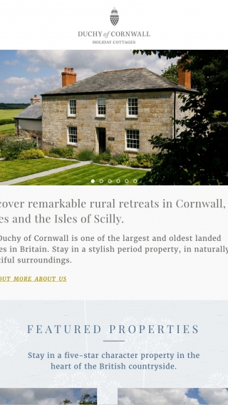The Duchy of Cornwall Holiday Cottages website homepage mocked up on tablet.
