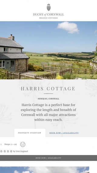 A page from the Duchy of Cornwall Holiday Cottages website mocked up on tablet.