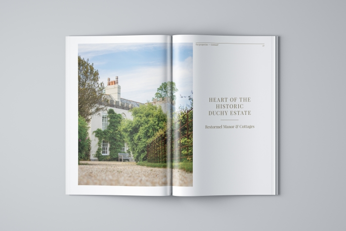 A spread in the Duchy of Cornwall Holiday Cottages brochure showing Restormel Manor.