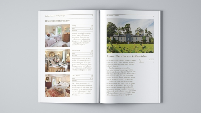 A spread in the Duchy of Cornwall Holiday Cottages brochure showing Restormel Manor and its rooms.
