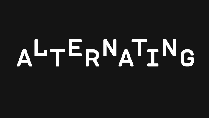 The word 'alternating' in an alternating down-up typeface, white on black.