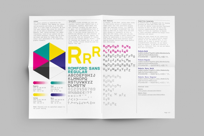 The Romford brand guidelines by Nixon Design, including colour and typography.