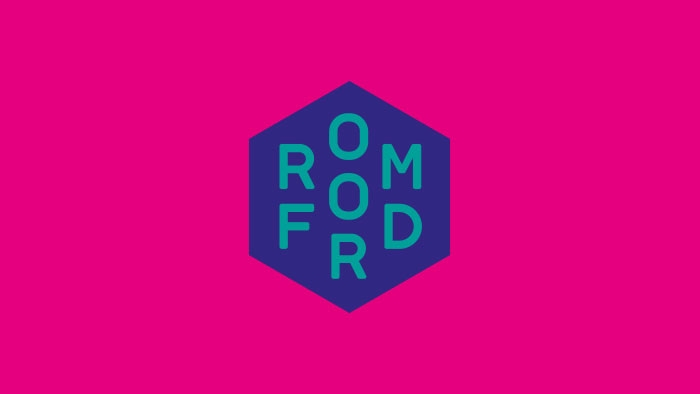 The Romford logo by Nixon Design, blue on pink.