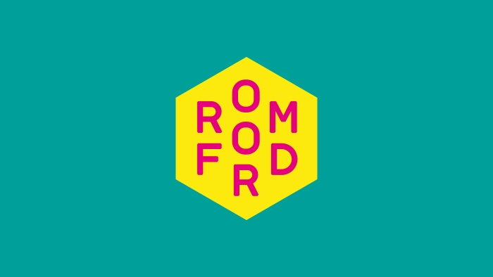 The Romford logo by Nixon Design, red on yellow on turquoise.