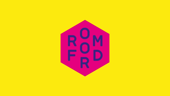 The Romford logo by Nixon Design, purple on pink on yellow.